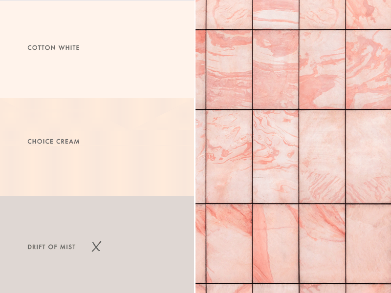 pink marble tile with matching paint colors